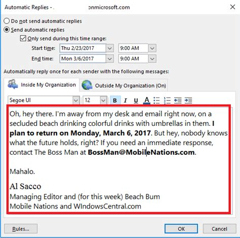 how to master outlook s out of office automatic replies