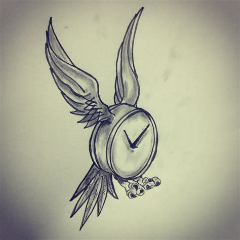 time flies tattoo sketch by ranz pinterest