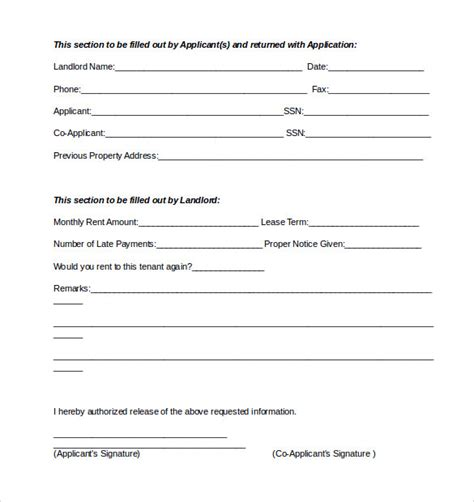 reference form template 9 rental reference form templates to sle