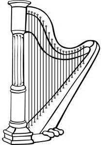 Harp Coloring Page free harp coloring page