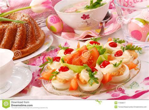cuisine festive traditional easter breakfast on festive table stock