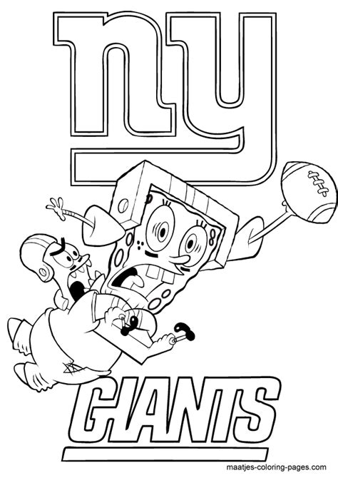 spongebob nfl coloring pages nfl new york giants spongebob coloring page