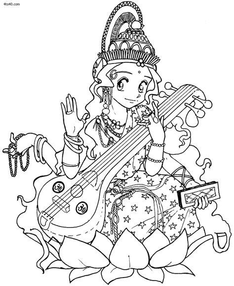 coloring goddess learn to draw goddess saraswati