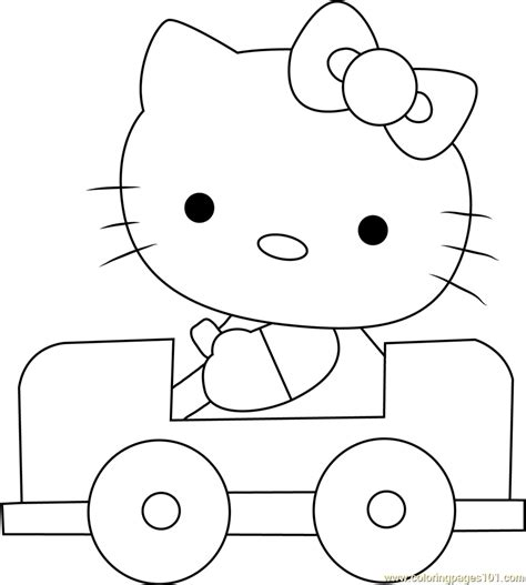 hello kitty car coloring pages hello kitty driving a car coloring page free hello kitty