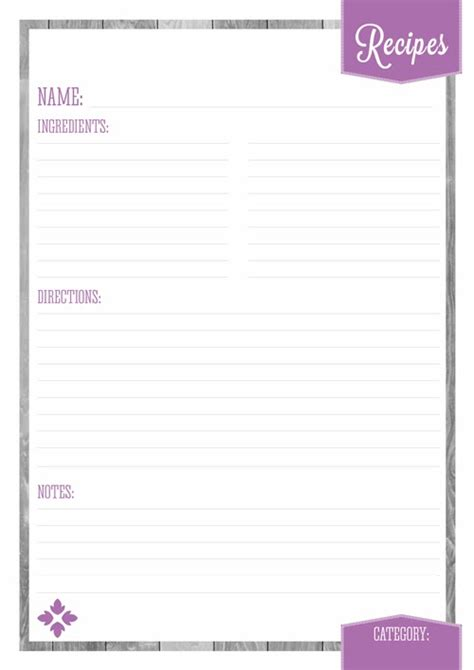 free printable page recipe templates home organizer recipe pages eliza ellis