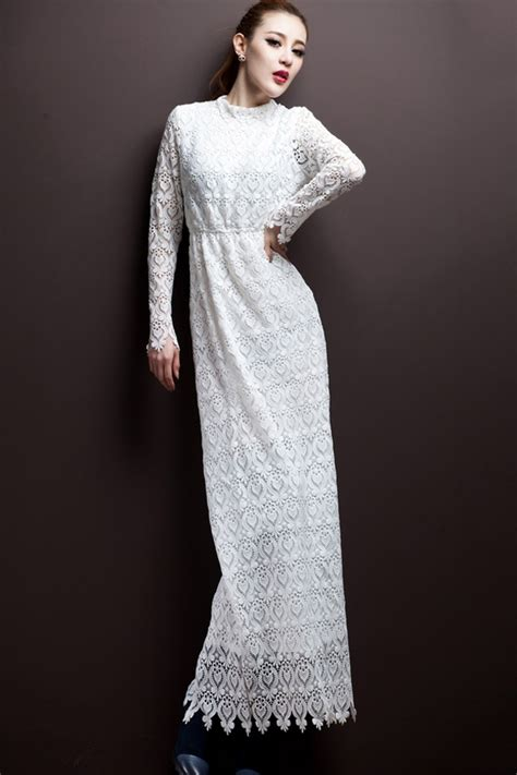 White Lace Sleeved Dress lace dress dressed up