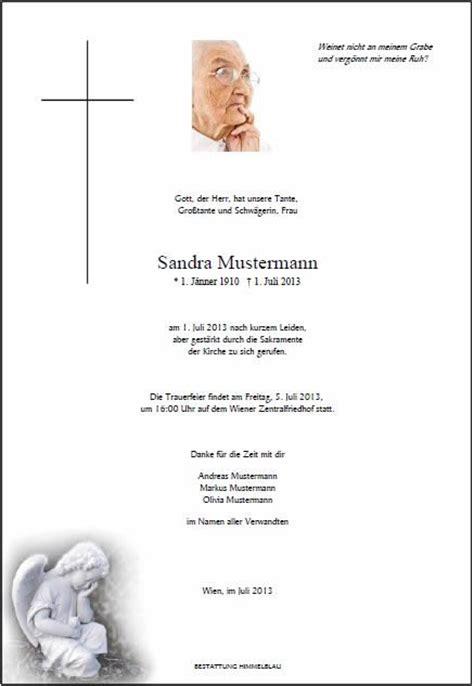 Word Vorlage Todesanzeige Trauerparten Todesanzeigen Bestattung Himmelblau Wien