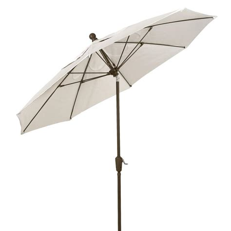Gray Patio Umbrella Hton Bay 9 Ft Aluminum Patio Umbrella In Gray With Push Button Tilt 9900 01407200 The Home