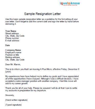 Friendly Resignation Letter Sles