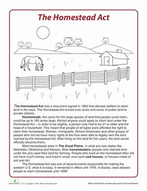 act worksheets the homestead act worksheet education