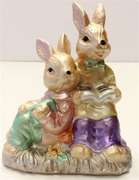 easter bunny book easter bunny figurine foil look rabbit reading book