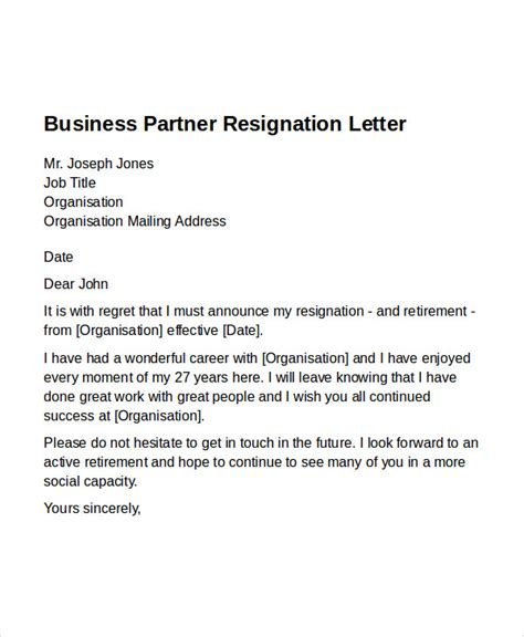 Business Letter Format Exle business letter exle resignation 28 images exle of a