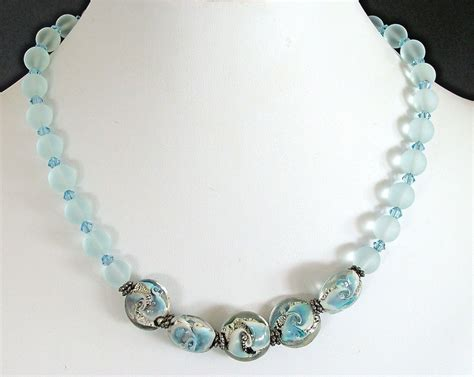 sea bead necklace edgewater 17 quot handcrafted sea glass bead necklace earth