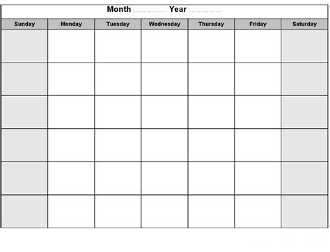 Blank Activity Calendar Template by Printable Blank Monthly Calendar Activity Shelter