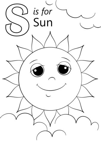 Sun Coloring Pages For Toddlers by Letter S Is For Sun Coloring Page Free Printable