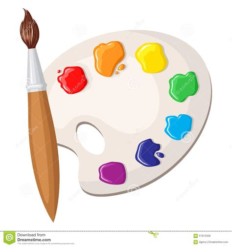 paintbrush and palette of paints stock vector image 57913426