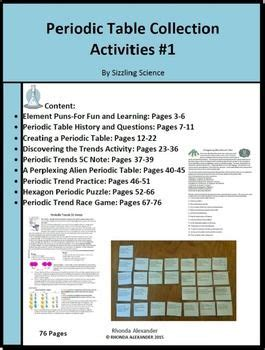 periodic table activities periodic table collection of activities teaching