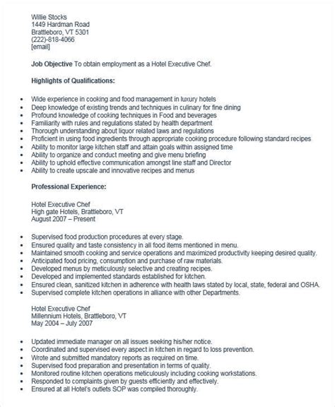 Hotel Executive Chef Sle Resume by 30 Executive Resume Designs