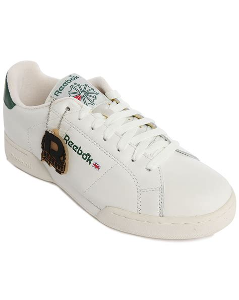 white sneakers for reebok npc vintage white green leather sneakers in white