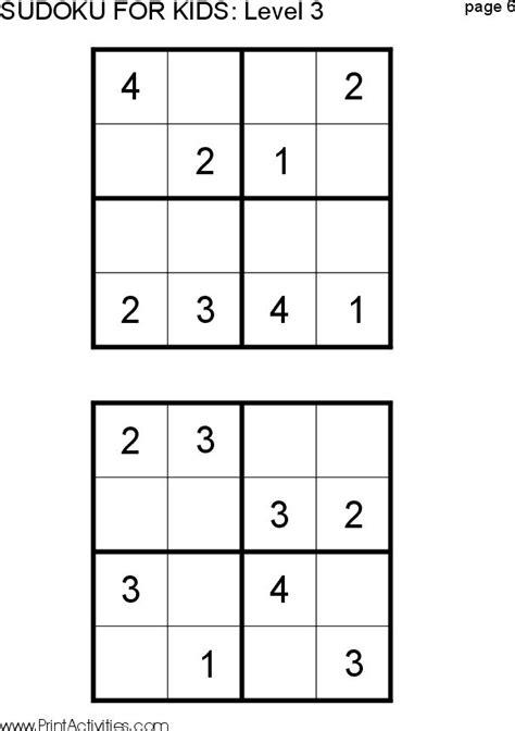 printable sudoku 4x4 easy printable sudoku puzzles for 6 year olds kids