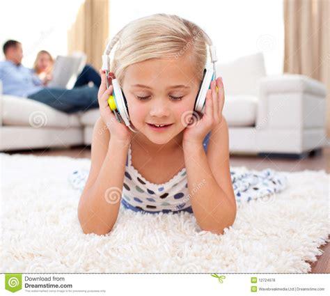 listening lying on the floor royalty free