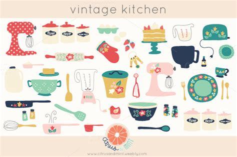 Vintage Kitchen Clipart by Vintage Kitchen Clip Illustrations On Creative Market
