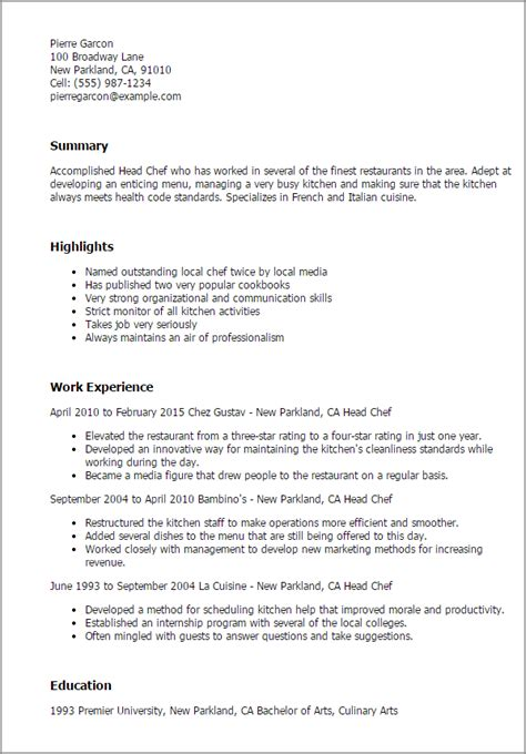 Sle Professional Resume by Professional Chef Resume Sle 28 Images Personal Chef