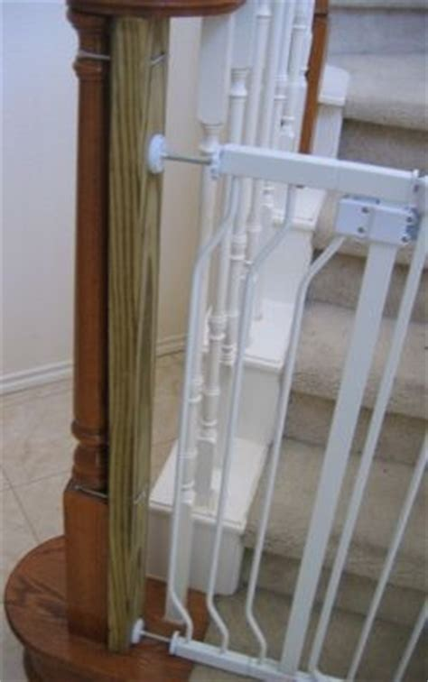 baby gate banister mount to mount baby gate to irregularly shaped banister post attach 2x4 through holes with