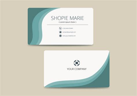 teal business card template vector   vector