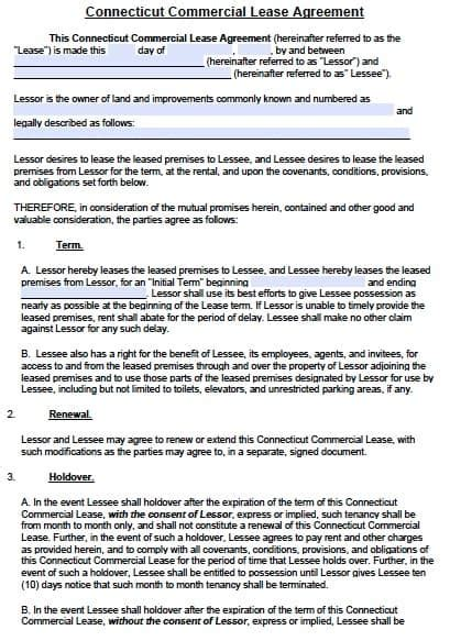 Free Connecticut Commercial Lease Agreement Template Pdf Word Commercial Lease Agreement Template