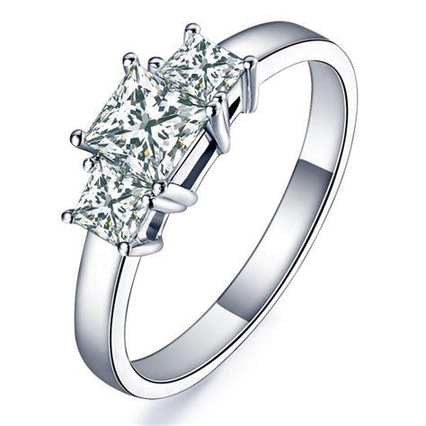 1 carat princess cut three engagement ring