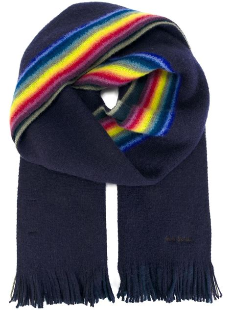 paul smith striped scarf in blue for lyst