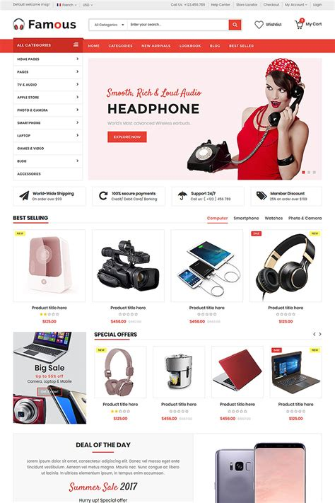 store template html5 electronics store html5 website template 65867