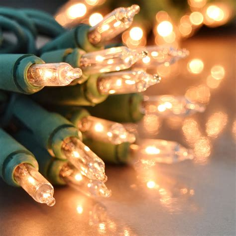 50 Count Clear Stringlight Set Green Wire Clear Mini String Lights White