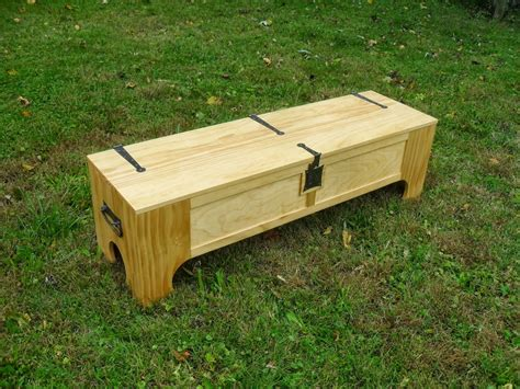 Wooden Folding Bed It Looks Like A Bench But It Turns Into A Bed In A Box