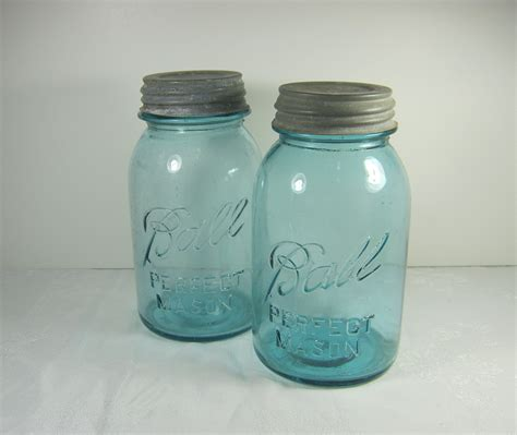 vintage blue ball canning jar antique 1920s zinc lid perfect