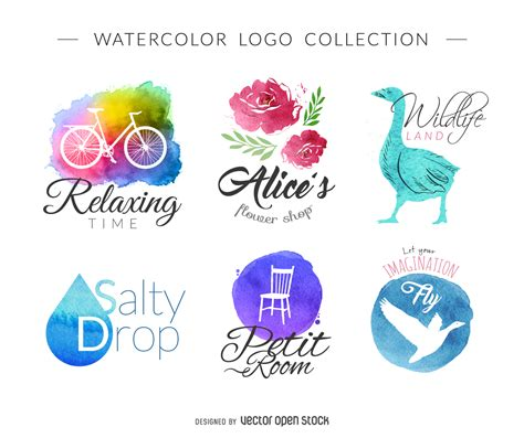 watercolor logo set free vector