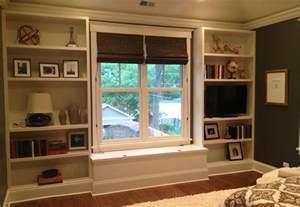 Bedroom Built In Shelves Master Bedroom Built In Bookcases Before Styling