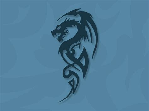 small tribal dragon tattoos images designs