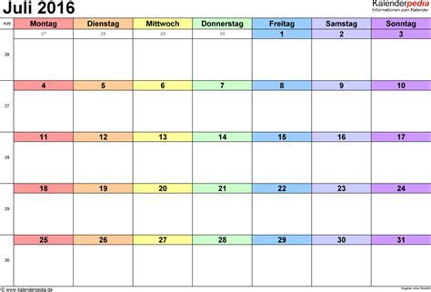 Kalender 2016 Monatsweise Kalender Juli 2016 Als Pdf Vorlagen