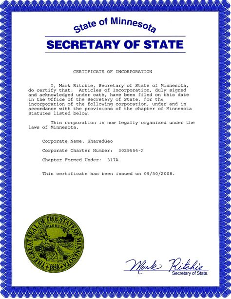 Governance Sharedgeo Articles Of Incorporation Mn Template