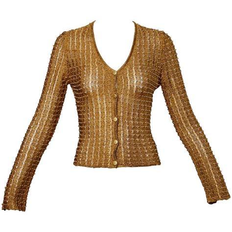 beaded cardigan sweaters krizia maglia 1990s metallic gold beaded cardigan sweater