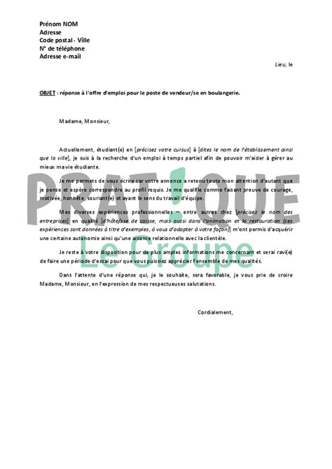Vendeuse En Puericulture Lettre De Motivation Lettre De Motivation Vendeuse Boulangerie Lettre De Motivation 2017