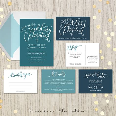 teal wedding invitation set printable stationery in the attic