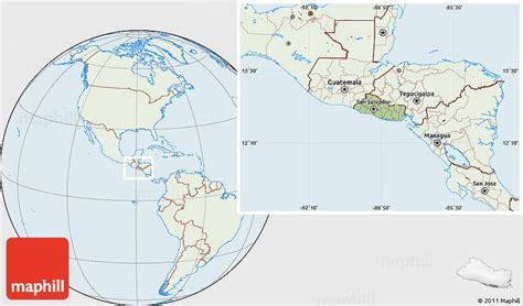 el salvador on world map savanna style location map of el salvador lighten