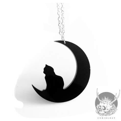 Moon And Cat Necklace curiology cat and crescent moon necklace