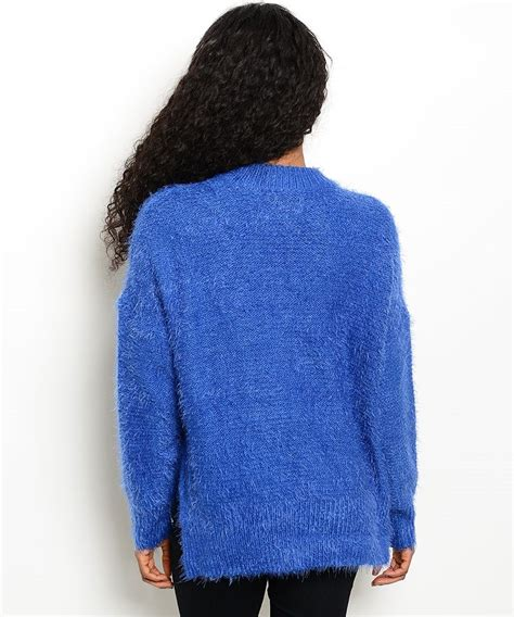 blue knit sweater blue fuzzy knit sweater modishonline
