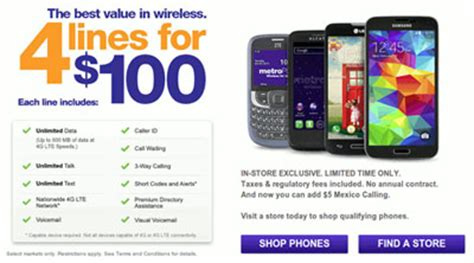 metropcs family plan promotion four lines for 100 available again prepaid mobile phone reviews