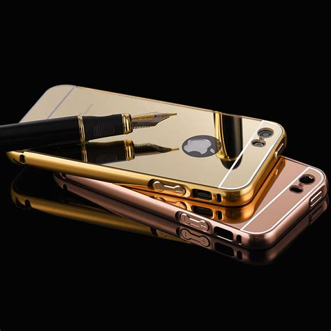 Aluminum Bumper With Mirror Back Cover For Iphone 6 Plus Black aliexpress buy for iphone 5 mirror luxury aluminum bumper plating acrylic