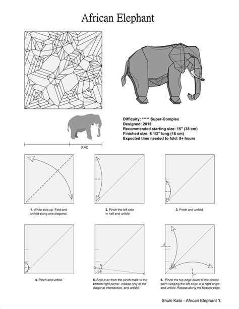 Origami Elephant Diagram - origami project 1 elephant by shuki kato elephant hide